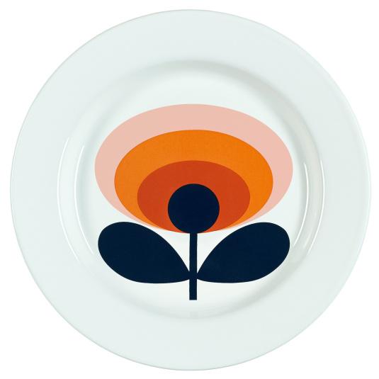Orla Kiely Persimmon Orange 70s Oval Flower 24cm Plate