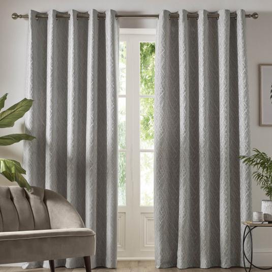 Vittata Silver 66x72 Curtains