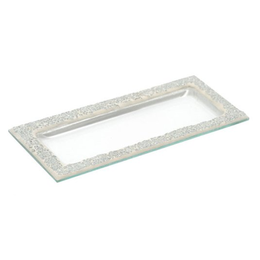 Silver Mosaic Crackle Plate