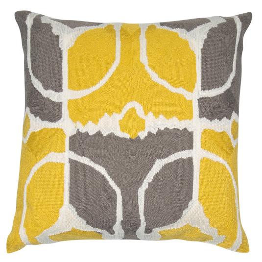 Malini Rumble Mustard Abstract Cushion
