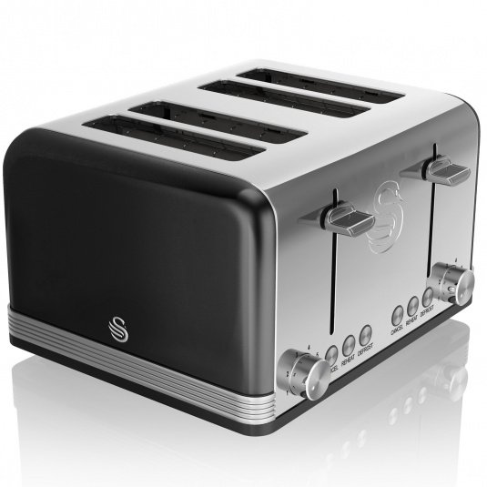 Swan Retro Black 4 Slice Toaster