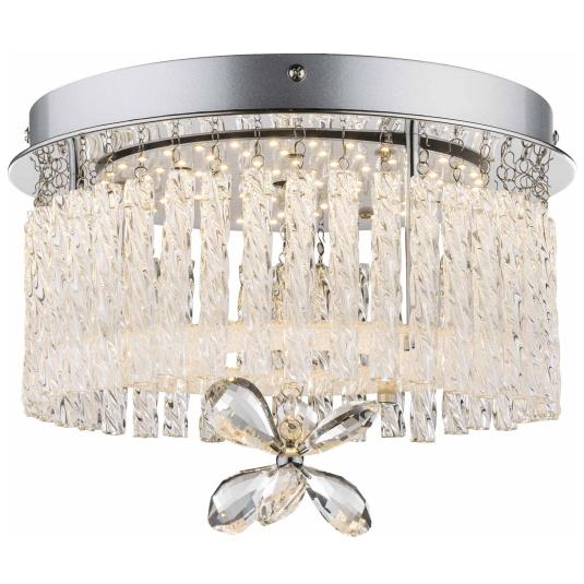 Mathilda Chrome & Crystal Semi Flush Ceiling Light