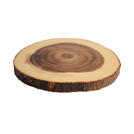 T and G Large Round Bark Chopping Board