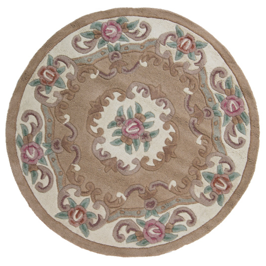 Aubusson Lotus Fawn Circle Rug 120cm