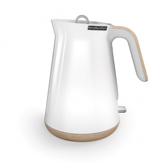 Morphy Richards Aspect White Kettle with Wood Effect Trim