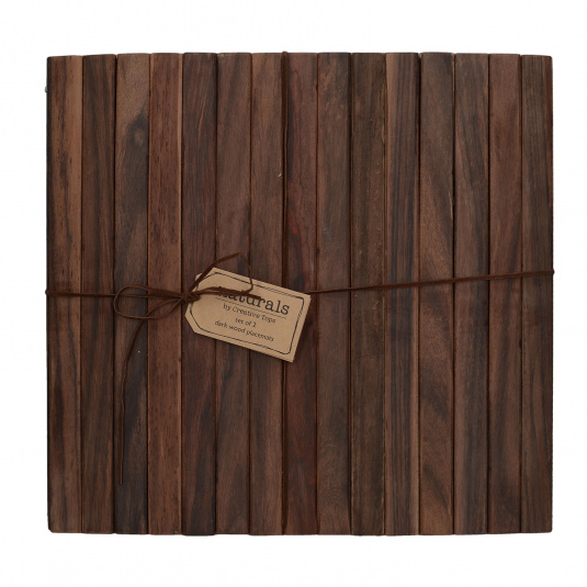 Natural Dark Wood Set of 2 Placemats