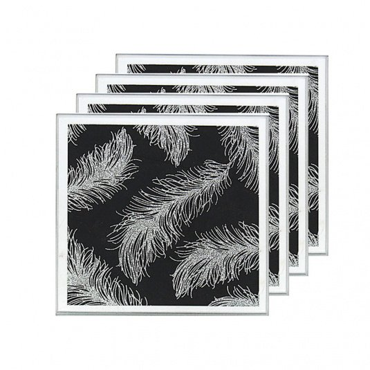 Set of 4 Mirrored Black Feather Glass Coasters