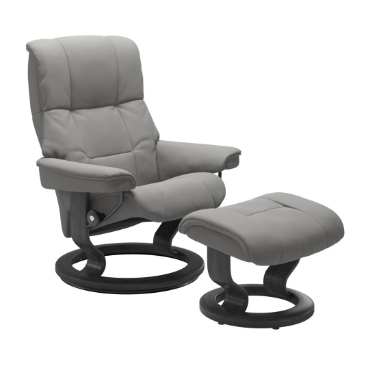 Stressless Mayfair Small Recliner Chair & Stool with Classic Base in Paloma Silver Grey