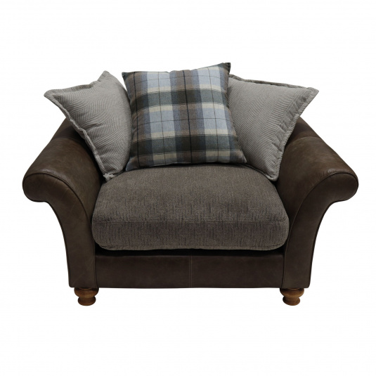 Holbeck Brown Leather & Fabric Snuggler