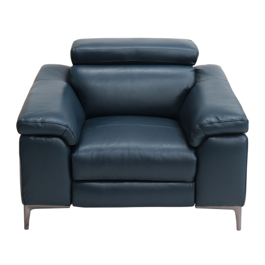 Lucia Petrol Blue Leather Electric Recliner Armchair
