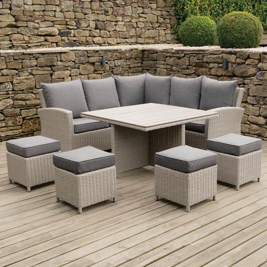 Cairo Square Stone Grey Rattan Corner Garden Dining Set - Lifestyle | Housing Units