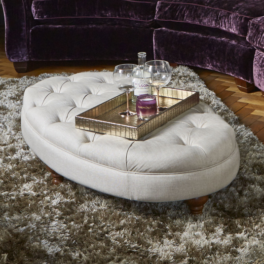 Henrietta Oval Buttoned Fabric Footstool