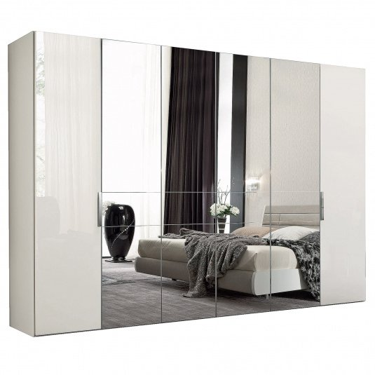 Torino White High Gloss 6 Door 239cm Wardrobe