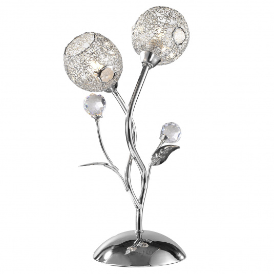 Portia Chrome 2 Light Crystal Table Lamp