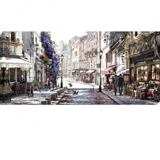 Sunlit Cafes Canvas Print by MacNeil