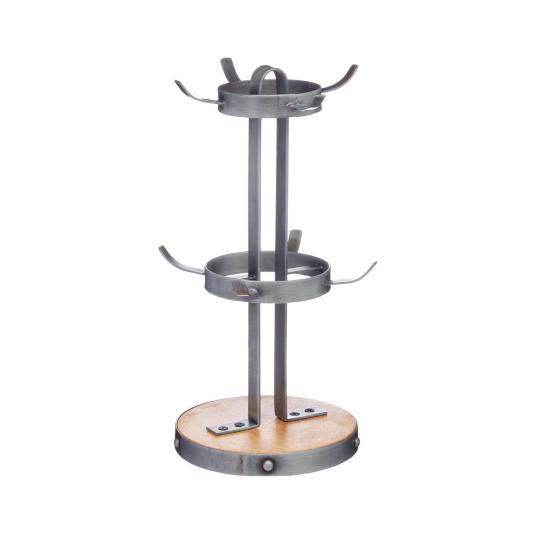 Industrial Kitchen Metal & Wood Mug Tree