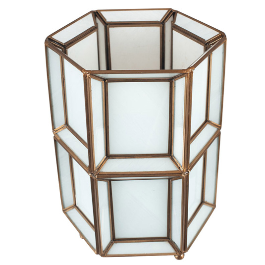 White Glass and Brass Table Lamp   Housing Units