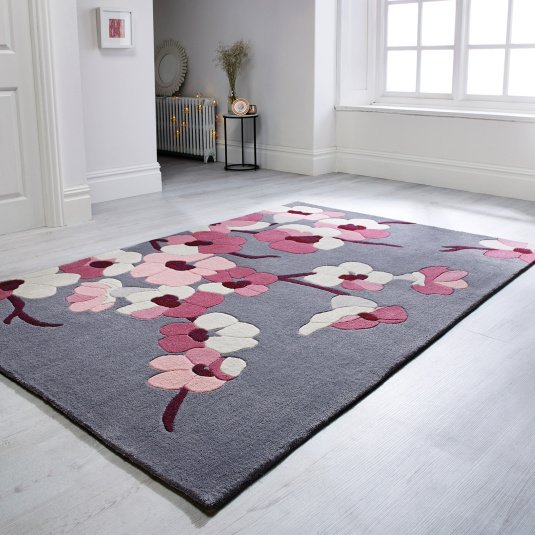 Infinite Blossom Charcoal & Pink 80cm x 150cm Rug