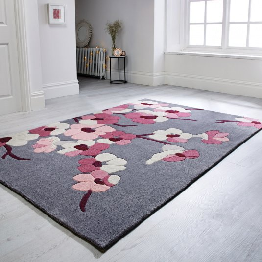 Infinite Blossom Charcoal & Pink 80x150cm Rug