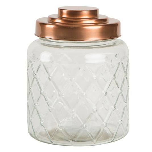 Copper Lid Fat Lattice Glass Storage Caddy