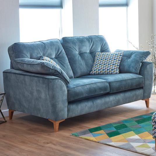 Weston Aqua Blue Velvet 2 Seater Sofa - Lifestyle | Housing Units