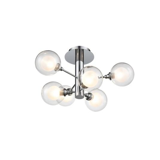 Bubble Chrome 6 Light Semi Flush Ceiling Light