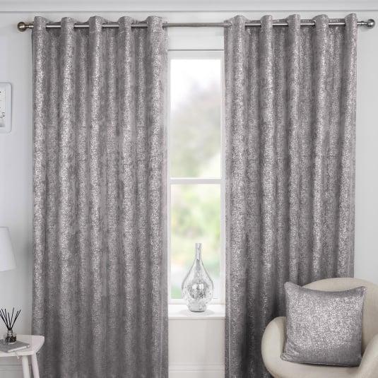 Halo Grey 66x54 Eyelet Curtains