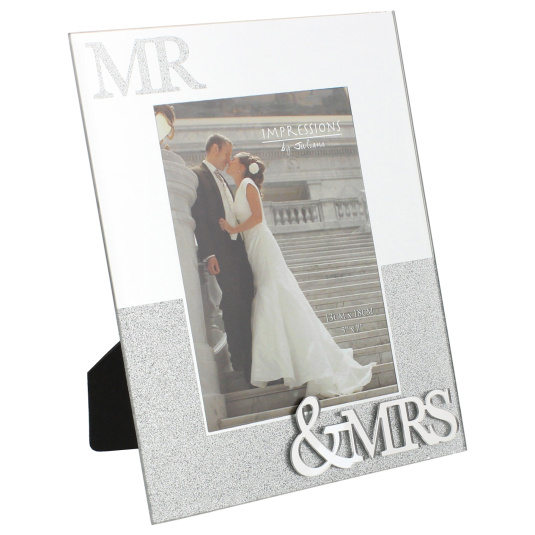 "Mr And Mrs Mirror With Glitter photo Frame 7"" x 5"""