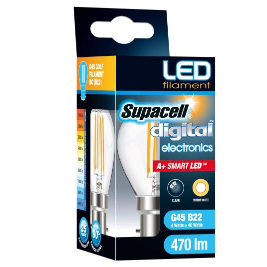 Supacell BC B22 4W Golf LED Filament Clear Light Bulb