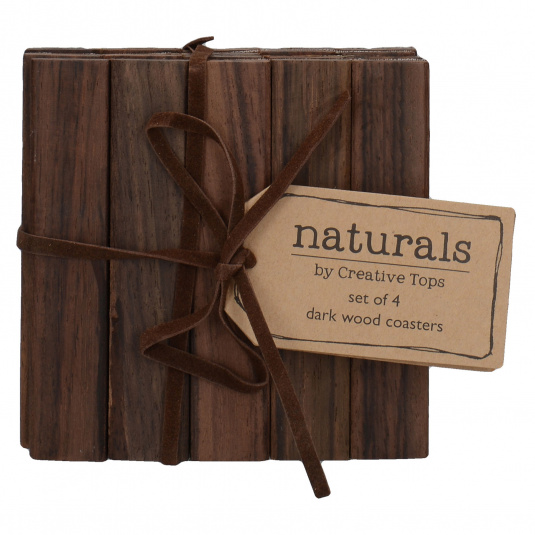 Natural Dark Wood Set of 4 Coasters