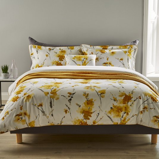 Christy Ink Flower Ochre Double Duvet Set