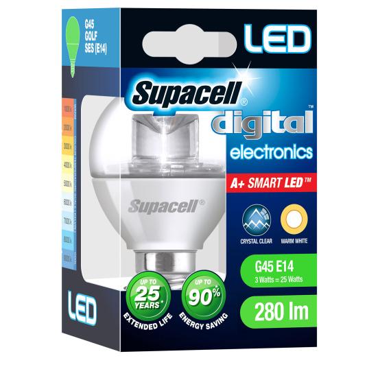 Supacell SES E14 3W Golfball LED Opal Light Bulb