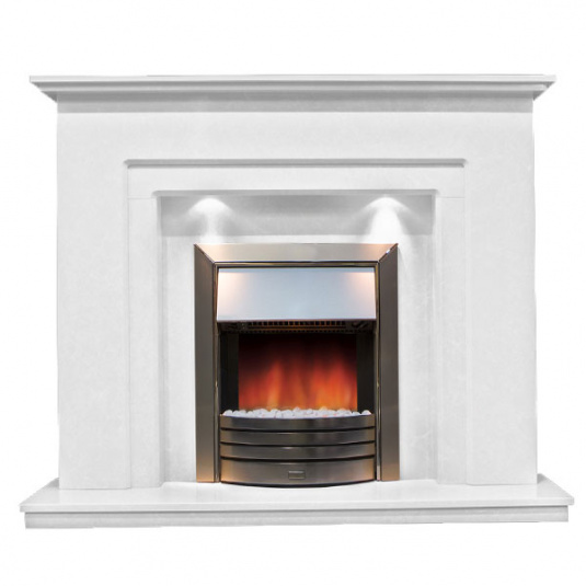 Bologna White Marble Fireplace with Lights