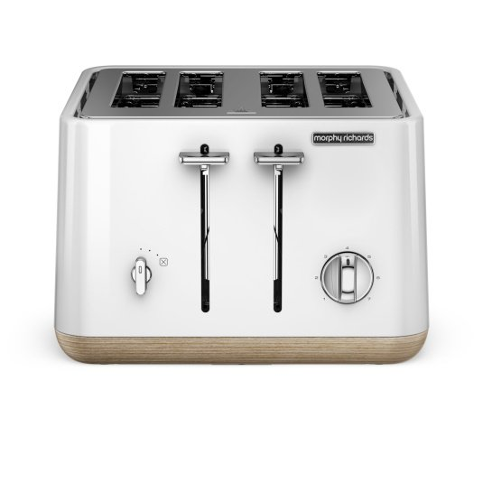Morphy Richards Aspect White 4 Slice Toaster with Wood Effect Trim
