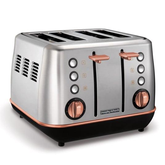 Morphy Richards Evoke Rose Gold & Brushed Steel 4 Slice Toaster
