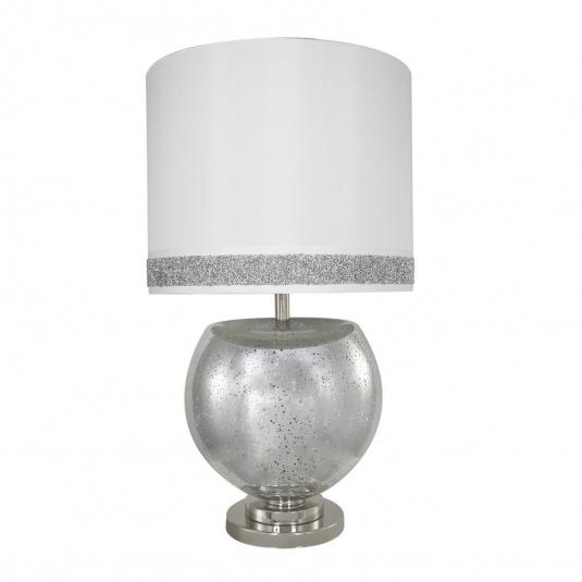 Silver Mercury Bowl Table Lamp With White Milano Stripe Shade