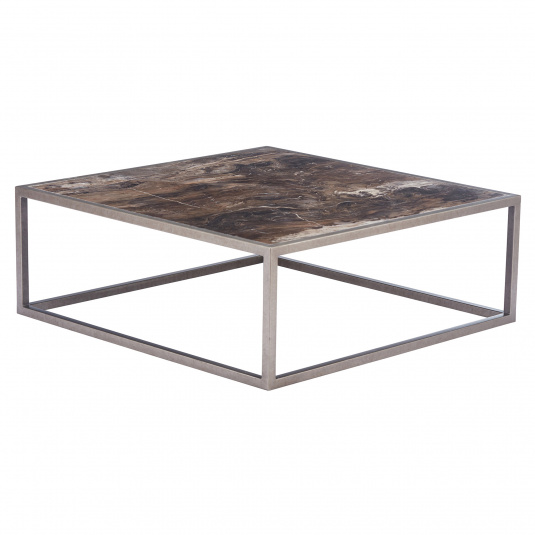 Mariposa Square Marble Coffee Table - Angled