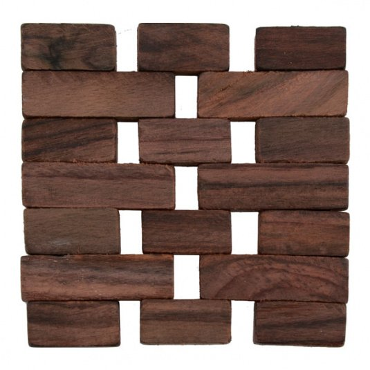 Set of Four Dark Wood Slatted Coasters