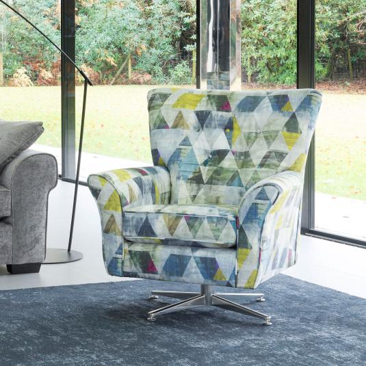 Charlbury Patterned Fabric Swivel Chair - Angle