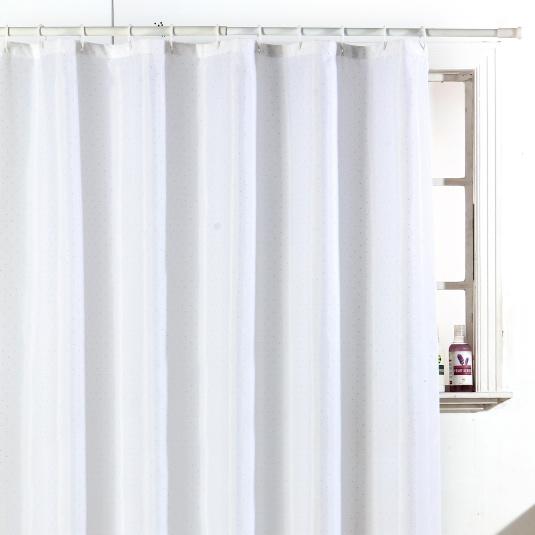 Polyester Diamante White Shower Curtain
