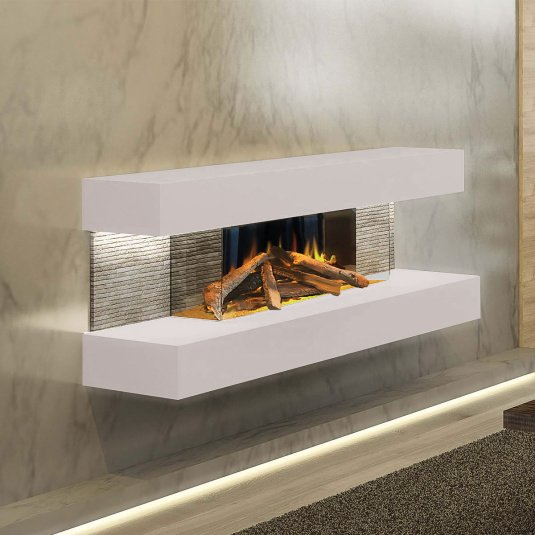 Evonic Fires Compton 2 Wall Hanging Light Grey Electric Fire Suite