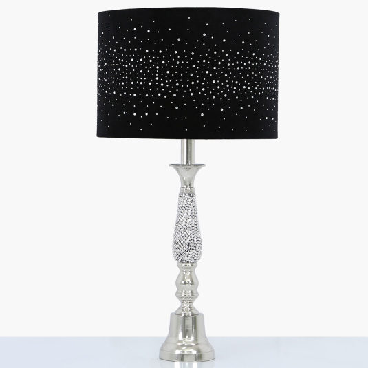 Nickel and Diamante Swirl Table Lamp with Black Velvet Sparkle Shade
