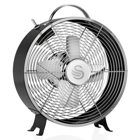 Swan Retro Black 8 Inch Clock Fan