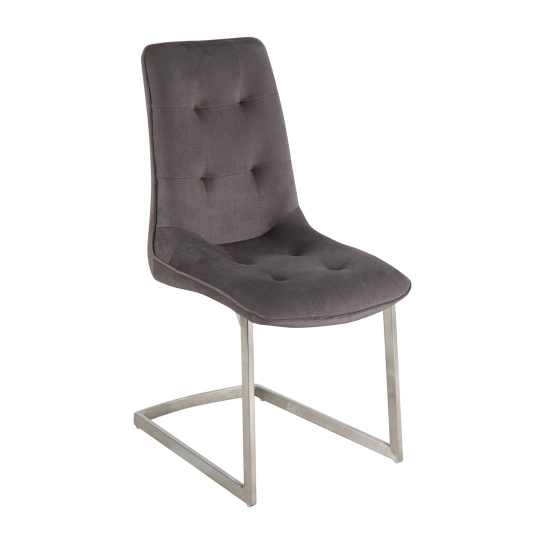 Avanti Grey Fabric Upholstered Cantilever Dining Chair - Angled