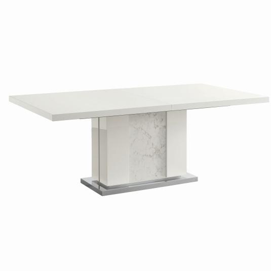 Torino White High Gloss Extending 160cm Dining Table