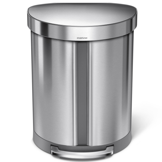 Simplehuman 55 Litre Stainless Steel Dual Compartment Semi Round Pedal Bin