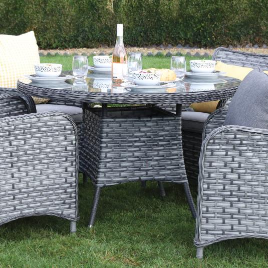 Supremo San Antonio Storm Grey 120cm Round Rattan Garden Dining Table - Lifestyle | Housing Units
