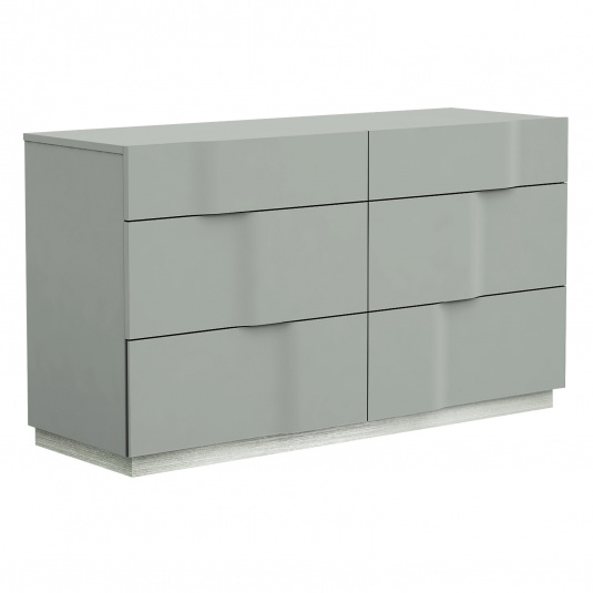 Essence Grey Lacquer 6 Drawer Dresser