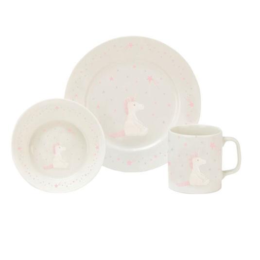 Bashful Unicorn Bowl, Cup & Plate Set