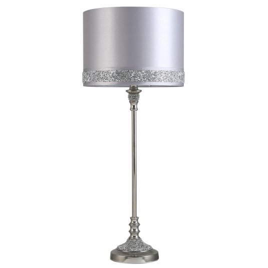 Nickel and Diamante Table Lamp with Silver Shade